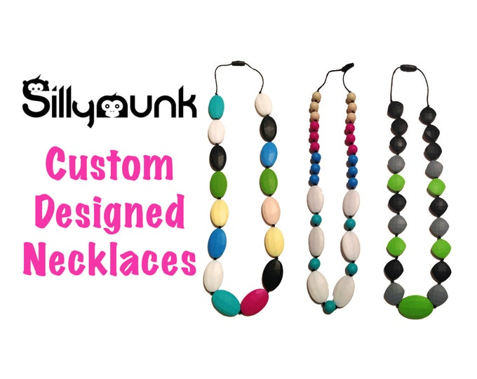 SillyMunk™ Custom Designed for you Silicone Teething Necklace BPA Free for nursing moms and teething babies