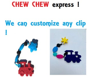 SillyMunk™  Silicone Teething Clip that is safe for baby to chew on Red Train