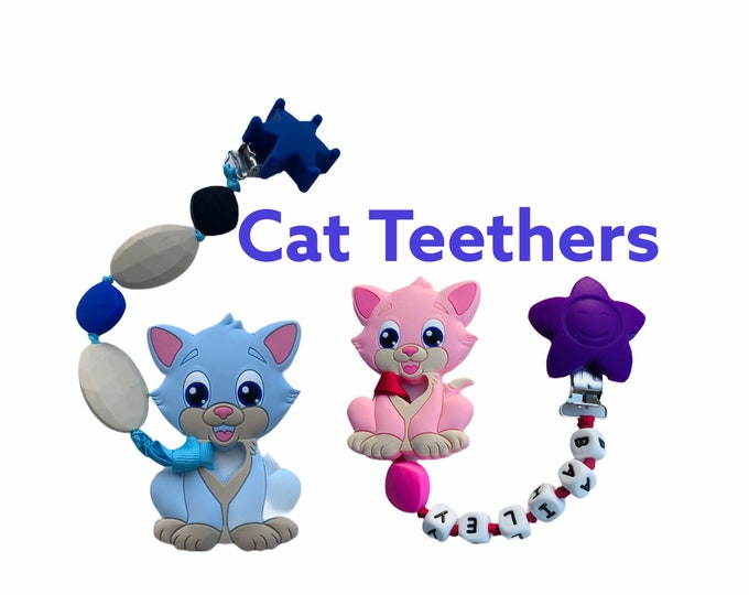 SillyMunk™ Blue Cat Personalized chewable Clip