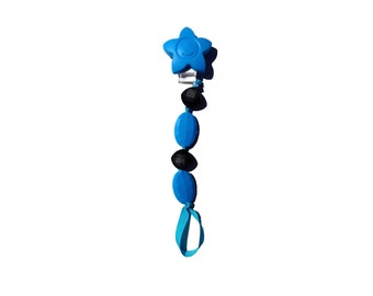 SillyMunk™ Silicone Teething Pacifier Clip! Multi-Use! Black and Blue