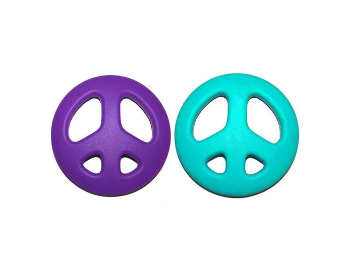 SillyMunk™ Silicone Teething Nursing Breastfeeding Necklace- Peace Sign Teether
