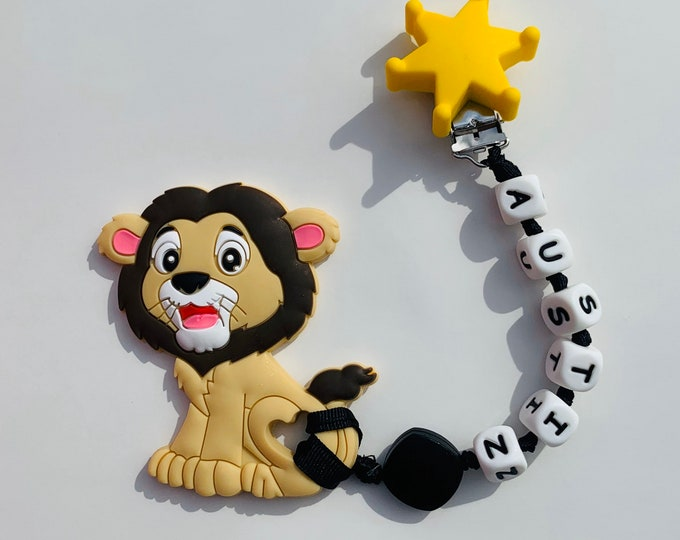 SillyMunk™ Personalized Lion Teething Clip