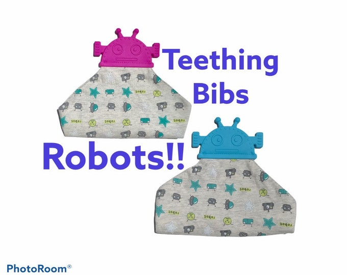 FREE SHIPPING  SillyMunk™ Silicone Chewables bibs- Robot Bib blue