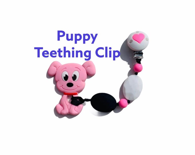 SillyMunk™ Pink Dog chewable Clip