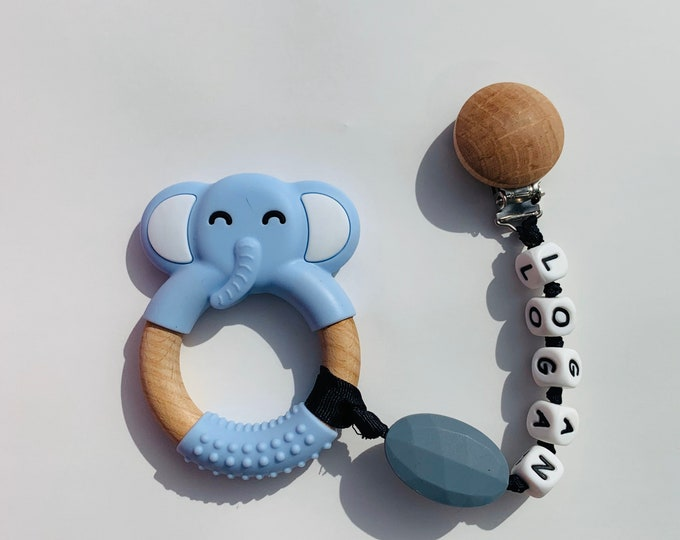 SillyMunk™ Blue Elephant Teething Clip