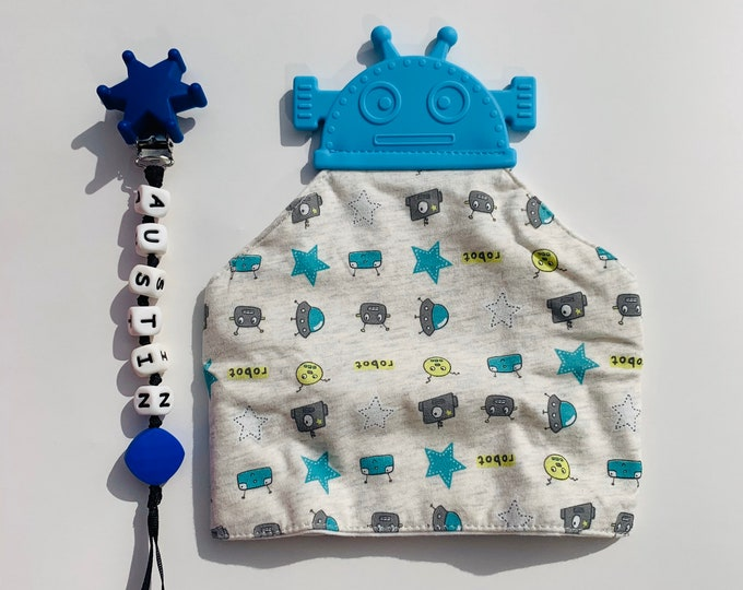 SillyMunk™ Teething Robot Bib and Pacifier Clip Set