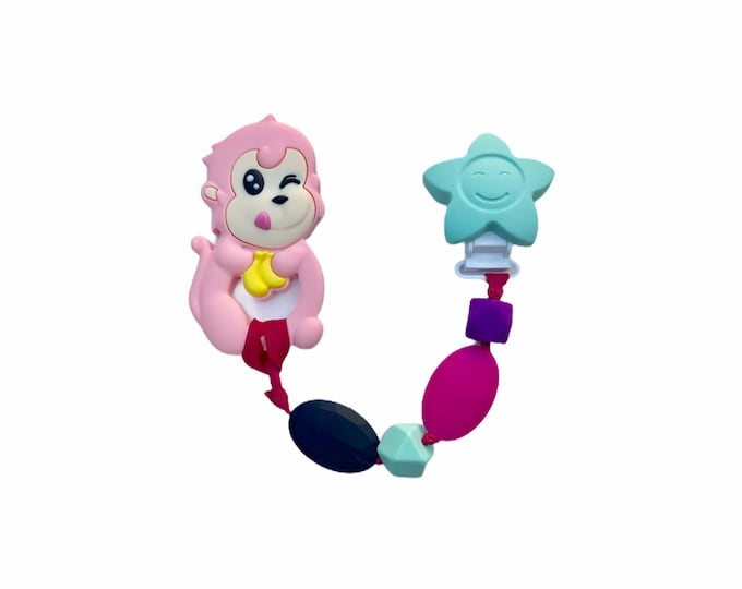 SillyMunk™ Monkey chewable Pacifier Clip  SAFE to chew on Silicone chewable Necklace BPA Free for chewable babies