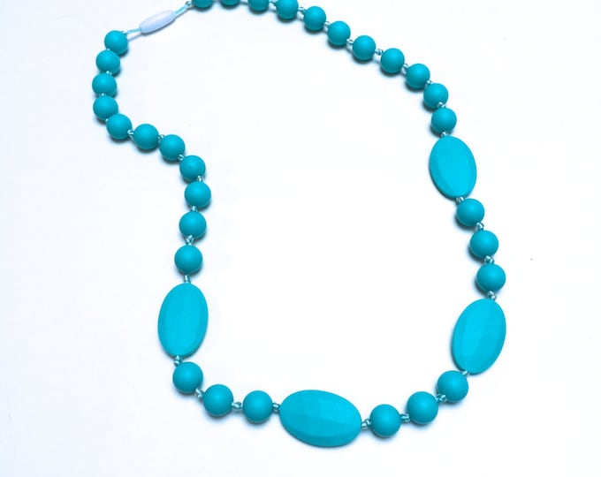 SillyMunk™ Silicone Teal Teething Necklace BPA Free for nursing moms and teething babies
