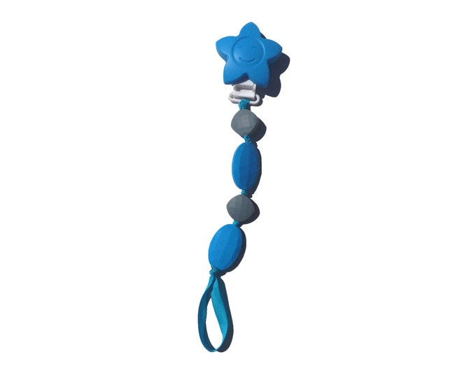 SillyMunk™ Silicone Teething Pacifier Clip! Multi-Use! Blue and Grey