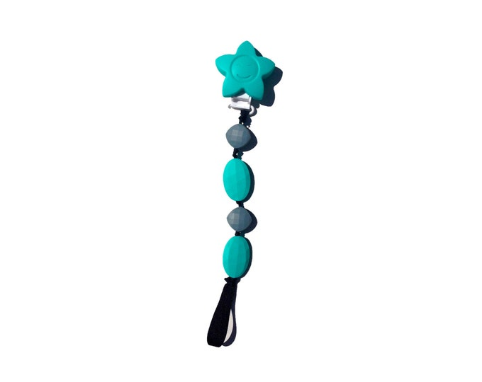 SillyMunk™ Teething Pacifier Clip Teal and Grey  SAFE to chew on Silicone Teething Clip BPA Free for teething babies