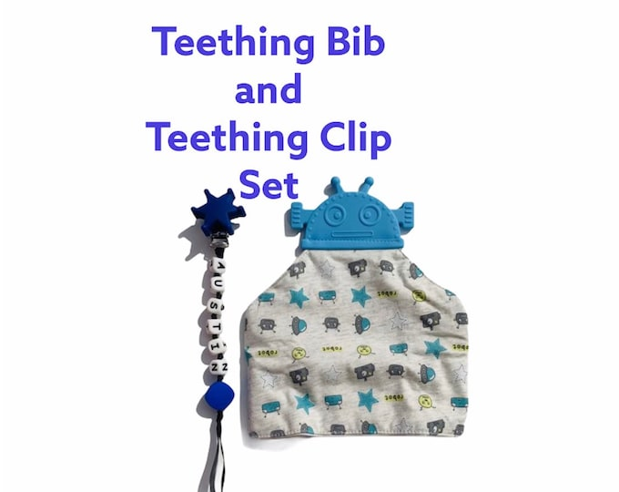 SillyMunk™ chewable Robot Bib and Pacifier Clip Set