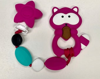 SillyMunk™ Racoon Teething Pacifier Clip  SAFE to chew on Silicone Teething Necklace BPA Free for teething babies