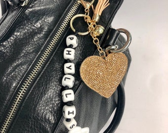 SillyMunk™ Personalized Rhinstone  Key Chains - Owl, Hearts