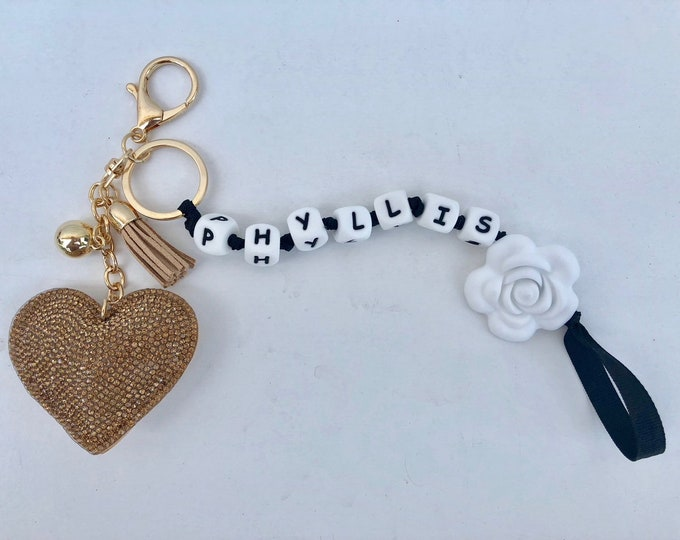 SillyMunk™ Personalized Rhinstone  Key Chains - Owl, Hearts