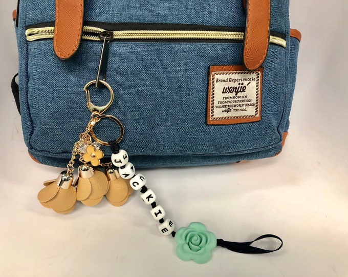 SillyMunk™ Personalized Flower  Key Chain