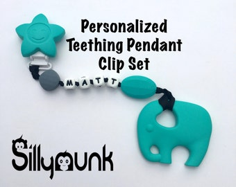 SillyMunk™ Personalized Silicone Teething Pacifier Clip! Teal Elephant