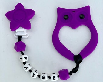 Personalized Teething Clip :SillyMunk™ Silicone Teething  Clips Owl
