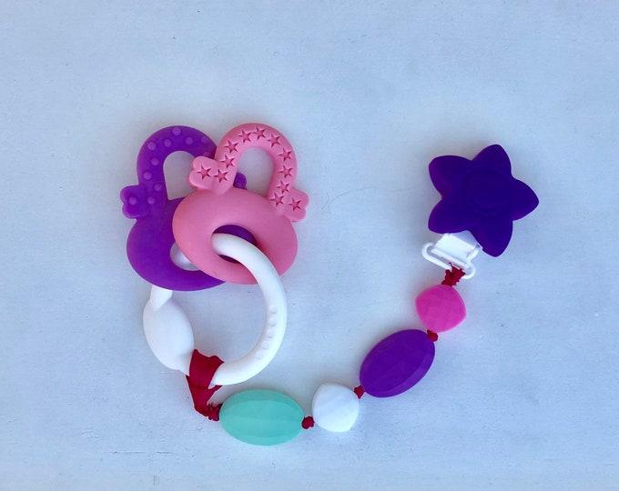 SillyMunk™ Silicone Teething Pink Keys