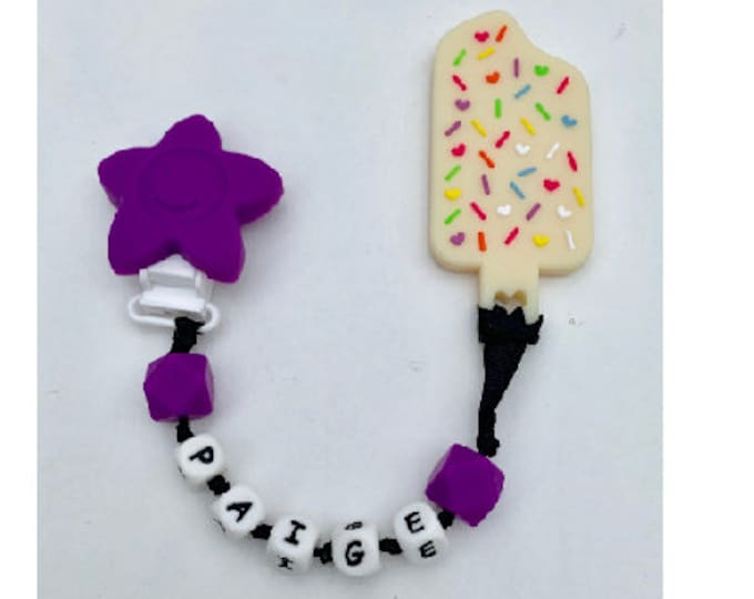 SillyMunk™ Ice Cream Silicone Teething Pacifier Clip! !!! Bpa Free