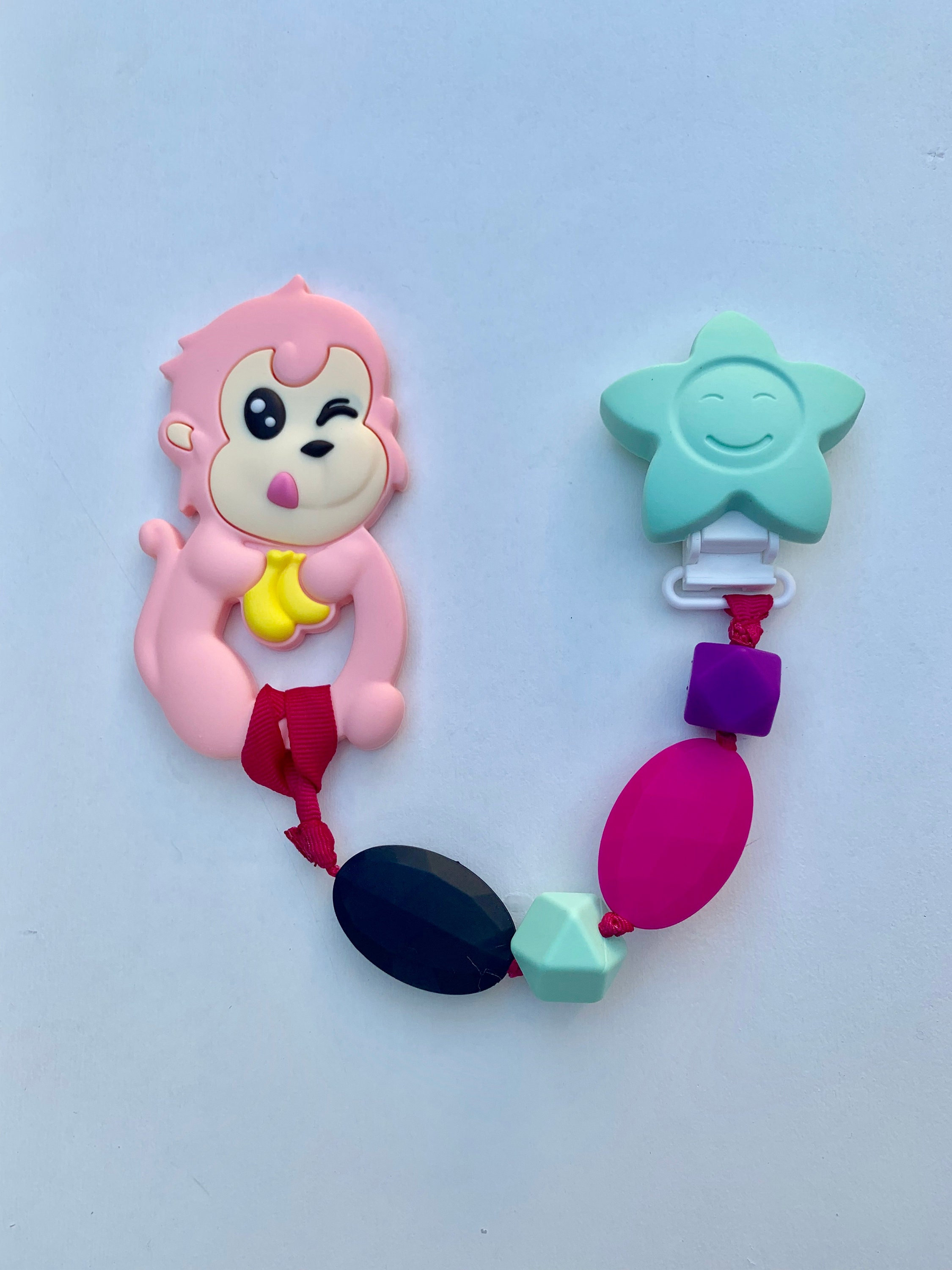 Sillymunk Monkey Teething Pacifier Clip Safe To Chew On