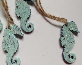 Seahorse tags- Glitter seahorse- Seahorse party tags