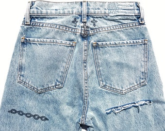 size 26 hand-painted jeans Heaven Sent
