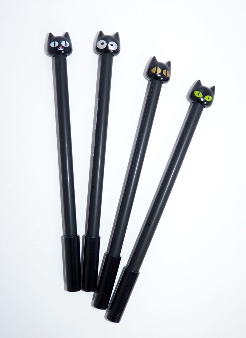 Cat gel pen black cute favor guest gift  birthday party scrapbooking planner supplies