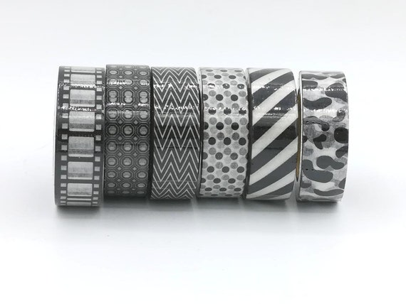 washi tape klebeband schwarz wei muster kuh film kino etsy. Black Bedroom Furniture Sets. Home Design Ideas