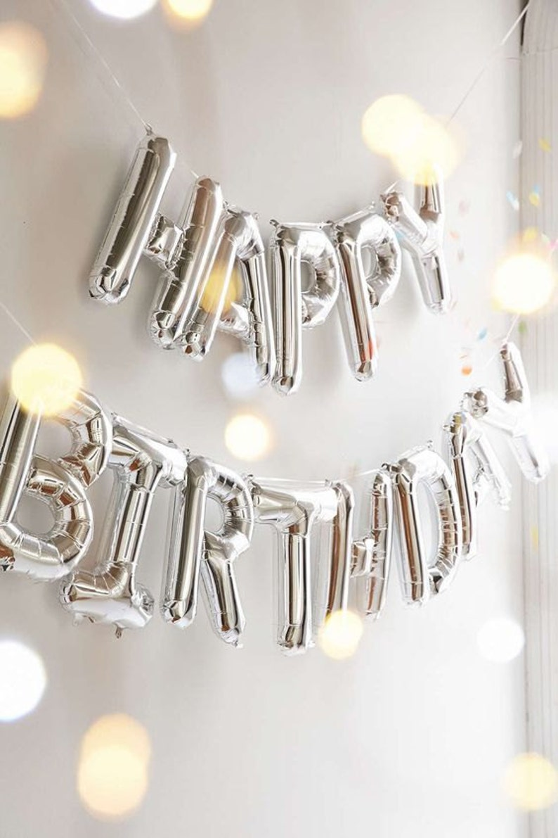 Giant HAPPY BIRTHDAY  SILVER foil letter balloon  16