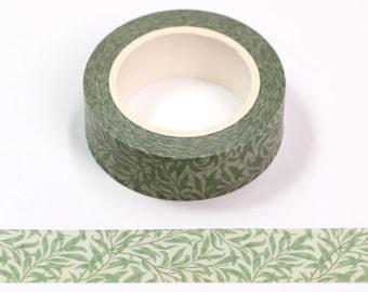 Washi tape Rattan leaf green watercolor W542