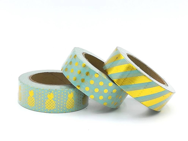 Washi Tape 15mm X 10m Mint Green Lines Crafts
