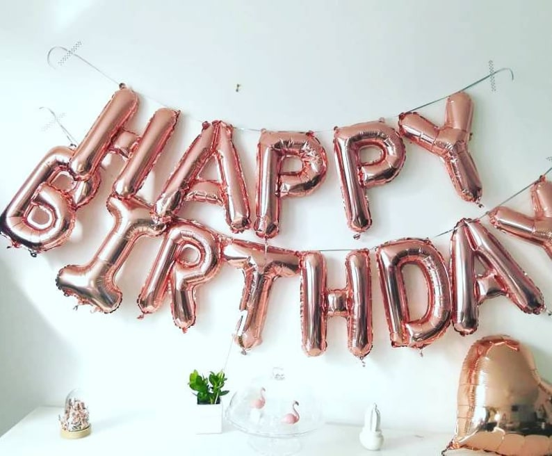 Giant HAPPY BIRTHDAY Rose Gold Letter Balloon Banner 16 Birthday P Party Fun