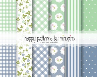 "Shabby Chic Green and Blue digital paper, Cottage Papers - Set of 12 individual 12x12"" sheets , 300 dpi, JPEG"