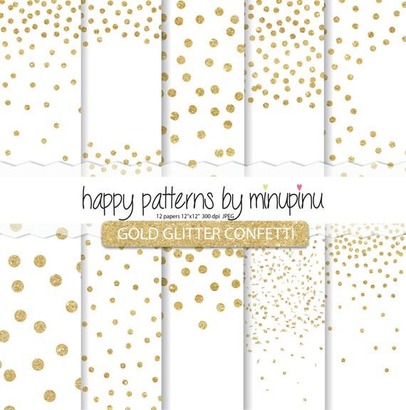 confetti digital paper gold glitter confetti on white etsy