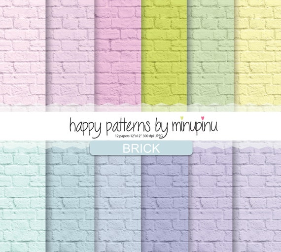 Brick Digital Paper Colorful Brick Patterns Brick Texture In Etsy Cool Brick Pattern Paper