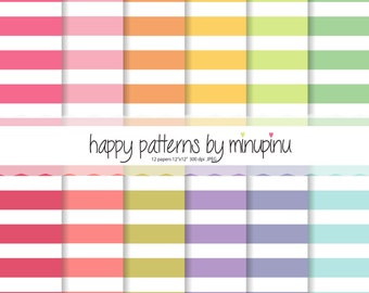 Stripes Digital Paper, Colorful Bold Stripes, pink orange yellow green coral citrus baby pink red violet mint,bright colors printable papers