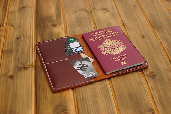 54a1566b4 Personalized leather wallet passport holder travel wallet for