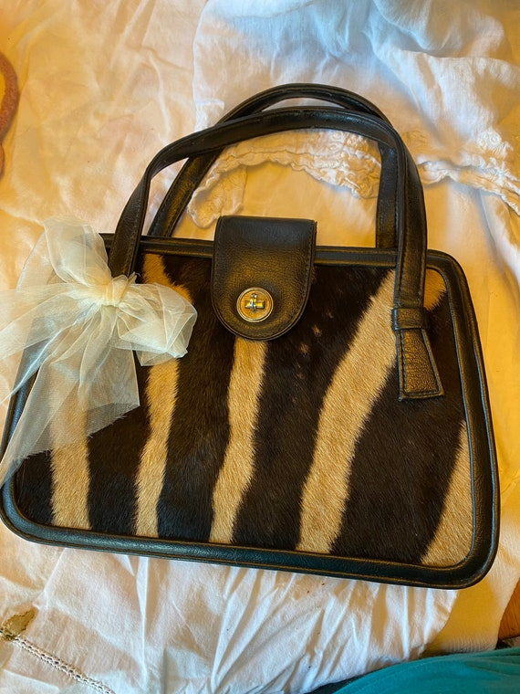 Vintage Genuine Zebra Handbag ~ Vinyl with Zebra P