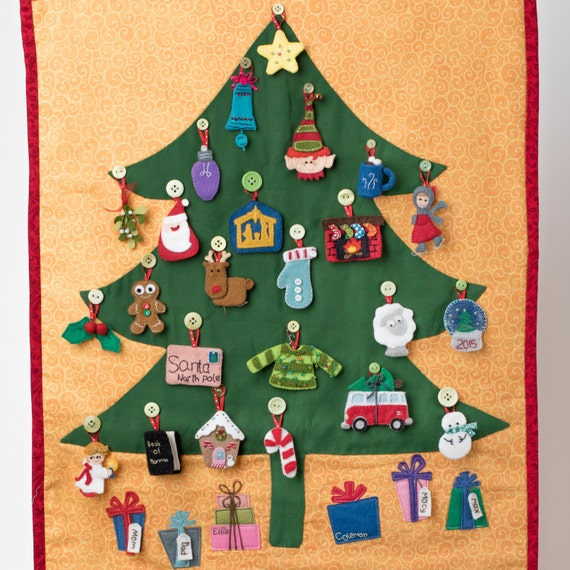 Christmas Count Down.Christmas Tree Advent Calendar Christmas Countdown Gift Advent Calendar Felt Ornament Calendar Pattern Felt Advent Calendar