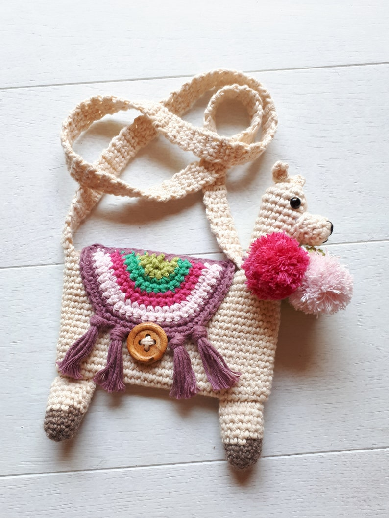 Llama purse toddler girl purse with stuffed llama plush image 0