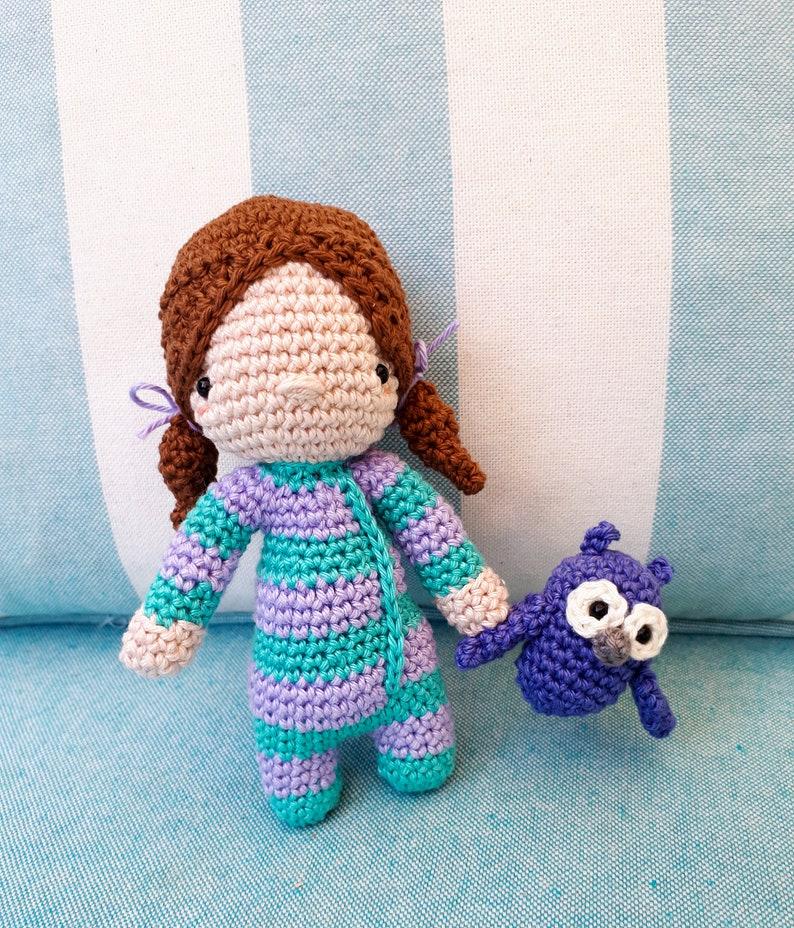 Sleepy Jenny crochet doll amigurumi with owl plush baby girl image 0