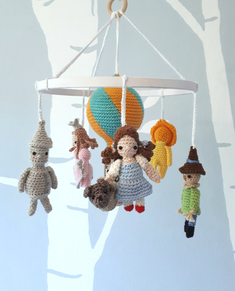 Wizard of Oz baby mobile with hot air balloon fairytale crib image 0