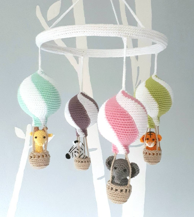 Nursery mobile crochet animals in hot air balloons baby image 0