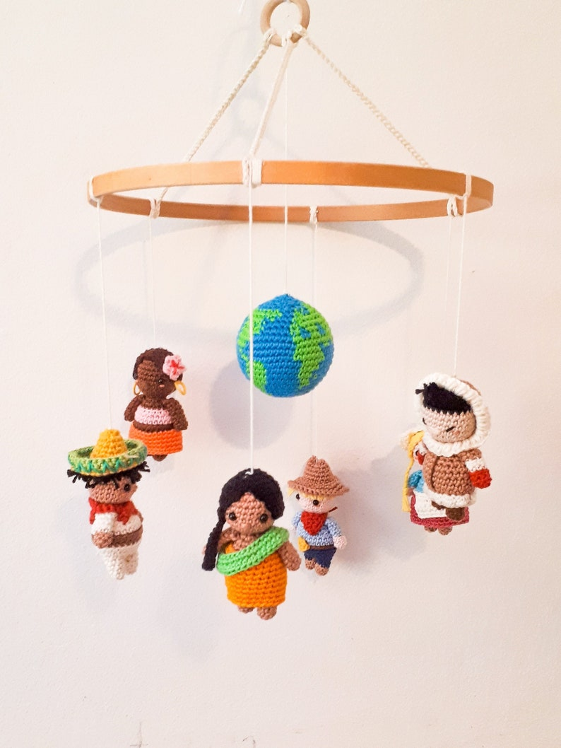 Multicultural baby mobile it's a small world mobile image 0