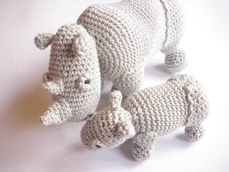 Rhino stuffed animals Rhino plush Crochet rhino Rhino toys image 0