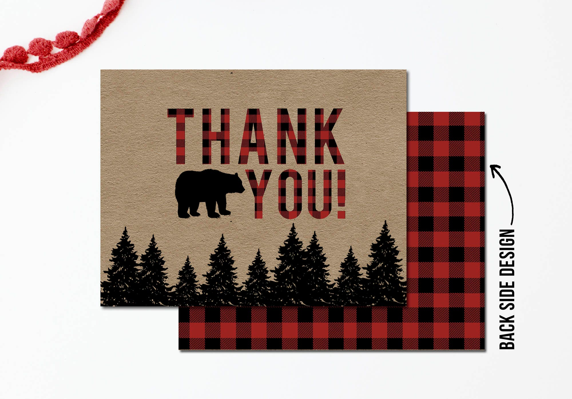 Rustic Thank You Card Red Buffalo Plaid Thank You Card Etsy