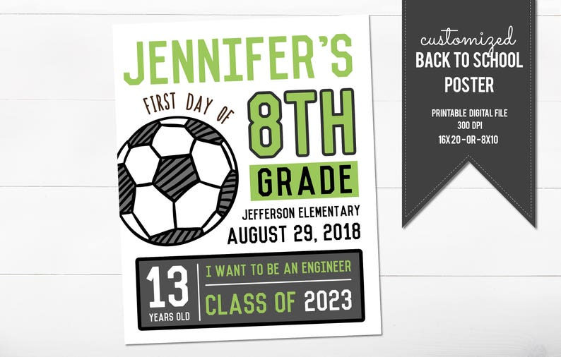 First Day of School Poster Soccer Back to School Sign Printable First Day of School Sign Green Sports First Day of School Sign