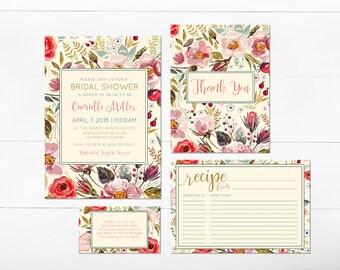 Floral Bridal Shower Invitation - Bridal Shower Invitation with Recipe Card - Bridal Shower Invitation Suite Printable - Garden Floral