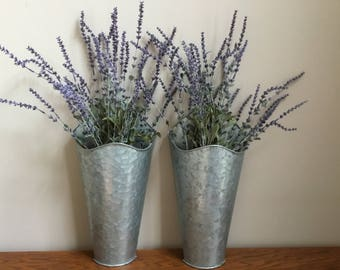 Set of 2 Galvanized Metal Wall Pockets with Lavender Stems / Wall Flower Vases / Farmhouse Metal Wall Container