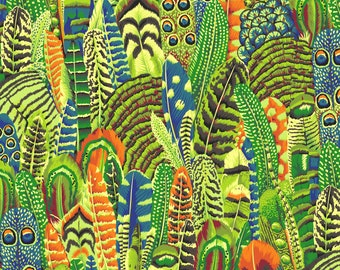 Feathers in Lime fabric designed by Philip Jacobs PJ055 for Kaffe Fassett  - Sold in 1/2 yard increments